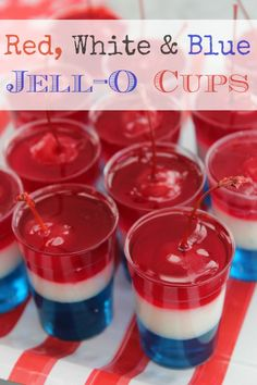 Red White & Blue Jell-O Cups :: How to make this yummy Independence Day Layered Dessert!
