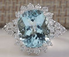 ESTATE 5.22CTW NATURAL AQUAMARINE AND DIAMOND RING 14K SOLID WHITE GOLD in Jewelry & Watches, Fine Jewelry, Fine Rings   eBay