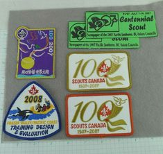 Lot of 6 Boy Scout Badges Ribbons 100 Years Canada Centennial Scout PJ + Boy Scout Badges, Boy Scout Patches, Scout Books, Scouts Of America, Vintage Patches, Eagle Scout, Vintage Boys, Books For Boys, Scouting