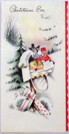 #1288 50s Sweet Little Angels Sleep in the Mailbox-Vtg Christmas Greeting Card