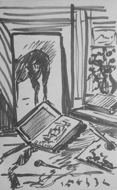 E. Besozzi pitt. s.d. (1954) Composizione pennarello su cartoncino cm. 25.8x16,5 arc. 1209
