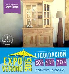Mueble Alacena Roble  Precio Liquidación $925.000 sólo Stock  EXPO VERANO 2015 ... no te lo pierdas!!  Antes $1.850.000  Características: Ancho 1.36 x Fondo 53 x Altura 2.10 cms.