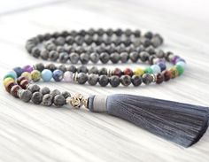 8 mm Grey Larvikite Tassel Necklace, Mala Beads, Yoga Jewelry, Chakra Mala, Long Mala, 108 Mala, Gemstone Jewelry, Yoga Mala, Tassel Mala