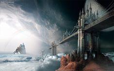 Surrealistic bridges to a distant island castle