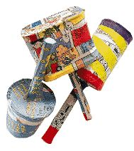 Musical Maracas: Newspaper, Old Food Containers, Tape, Beans, Decorations