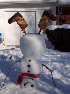 Super Cute Upside Down Snowman
