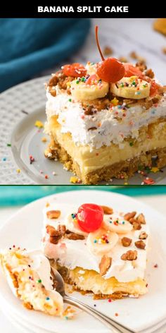 Get ready for this Southern-style no-bake banana split cake recipe! This recipe is all the flavors of a banana split sundae wrapped up into an ice-box cake. Icebox Cake Recipes, Delicious Cake Recipes, Cake Mix Recipes, Yummy Cakes, Sweet Recipes, Banana Split Cake Recipe, Banana Split Dessert, Banana Split Cupcakes, Chocolate Fruit Cake