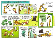 """Quoting wikipedia, """"Calvin and Hobbes is a daily American comic strip created by cartoonist Bill Watterson that was syndicated from November Calvin Und Hobbes, Calvin And Hobbes Comics, Hobbes And Bacon, Beste Comics, Library Humor, John Calvin, Fun Comics, Math Comics, American Comics"""