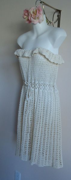 Vintage dress sale 50% off!!!!Vintage 1970s Hand Crochet Cotton Cream Strapless Dress on Etsy,