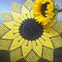 La imagen puede contener: flor y planta Crochet Carpet, Crochet Home, Crochet Crafts, Crochet Projects, Hand Crochet, Crochet Flower Patterns, Crochet Designs, Crochet Flowers, Thread Crochet