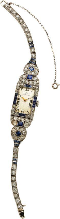Swiss Lady's Diamond, Synthetic Sapphire, Platinum Wristwatch, Movado