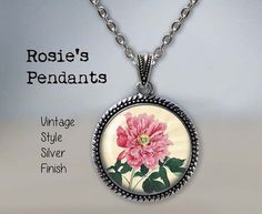 PINK PEONY by Tanigami Konan circa 1915 Pendant Necklace by RosiesPendants