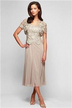 Sheath/Column Square Tea-length Lace Mother of the Bride Dress