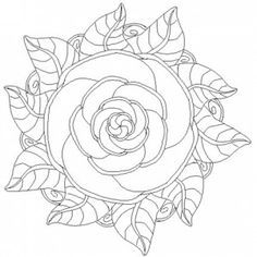 rose mandala coloring pages ~ almost perfect for acid etching on glass, just a little modification