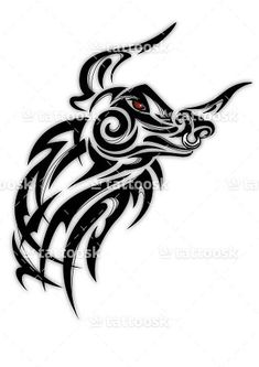 SBink Tribal Bull Head Tattoo ❥❥❥ https://tattoosk.com/tribal-bull-tattoo#7