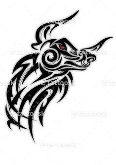 SBink Tribal Bull Head Tattoo ❥❥❥ https://tattoosk.com/tribal-bull-tattoo#7