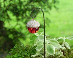 Fairy Garden Lantern acorn cap miniature door TheLittleHedgerow