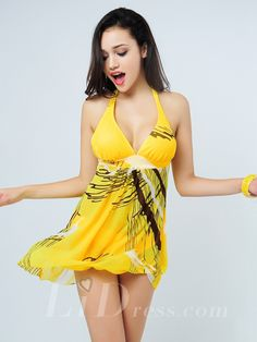Yellow Plus Size Two-Pieces Colorful Print Womens Swimsuit With Skirt Lidyy1605241001