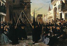 A Religious Confraternity Processing along the Calle Genova, Seville: Alfred Dehodencq