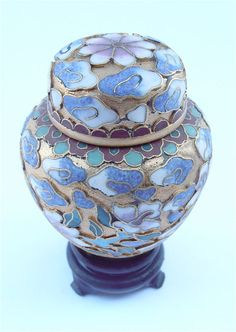 beautiful addition to asian or oriental decor - Miniature Vintage Cloisonne Urn available at VillaCollezione on Etsy