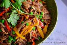 A dish a day : Day 79 - Stir fried Orzo with shallots, peas & sweet peppers (Pasta)