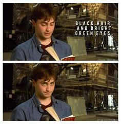 love his facial expression when he read Harry's physical description...lol