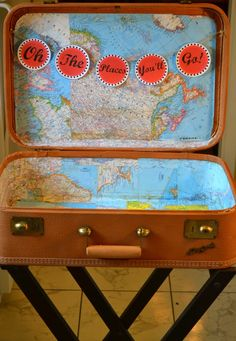 vintage-suitcase-makeover-maps.  A place to store all the vacation treasures.