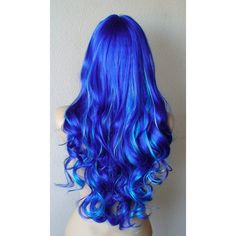 Three Tone Blue wig. Royal blue Turquoise blue Sky blue mix Long curly... ($98) ❤ liked on Polyvore featuring beauty products, haircare, hair styling tools, hair, hairstyles, wigs and curly hair care