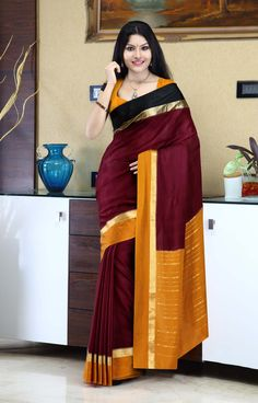 Maroon mysore silk saree with a paisley pattern on double-colored border - RmKV Silks