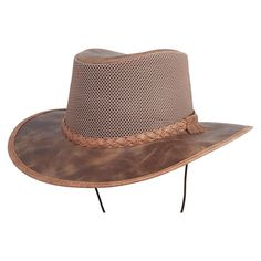 The American outback-style Breeze Sun Hat is the ideal combination of breathable mesh crown and water repellent leather brim. It keeps you cool and dry on the hottest of days and most demanding of adventures. #hats #sunhats