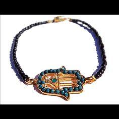 Turquoise Gold Hamsa Bracelet NWOT Beautiful bracelet NWOT made by local jeweler Violette dame boutique Jewelry Bracelets