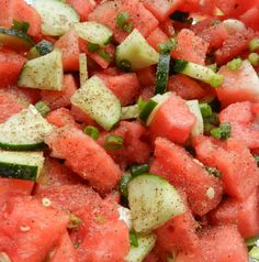 Cucumber Watermelon & Green Onion Salad ... this is incredibly fresh and perfect for a picnic on a hot summer day!