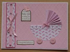 #cardmakingandpapercraft  New Baby Girl, this is an idea from the Cardmaking and papercraft magazine. Cut two semi circles to make the pram, for the pram hood on this card I have pleated the paper.