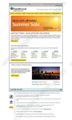 Company:    Expedia.co.uk    Subject:    Last day of sale - Save up to 40%             INBOXVISION is a global database and email gallery of 1.5 million B2C and B2B promotional emails and newsletter templates, providing email design ideas and email marketing intelligence http://www.inboxvision.com/blog