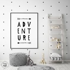 Scandi Nursery Print - Adventure Quote, Monochrome