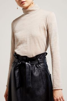No.6 Gloria Turtleneck in Sand Wool Jersey