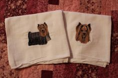 Pair of Machine Embroidered Yorkie Flour by CraftsbyJeanJanisch, $13.00