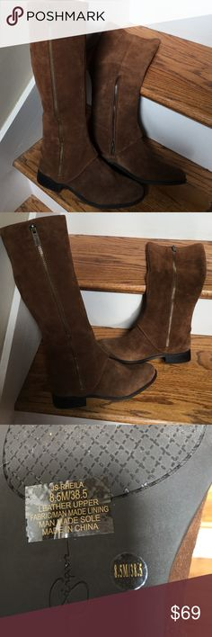 8.5M sz Bain Tan split Suede Jessica Simpson Boots Bain Tan split Suede Jessica Simpson Boots. Style JS-RHEILA.  8.5M size. Never been worn.  The long zipper is just decoration and the short zipper on the inside of the boot unzips.  Will ship in the box. Jessica Simpson Shoes Winter & Rain Boots