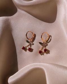 Cherry Kiss Earrings – CHVKER - CHVKER has so many cute earrings! checkout their website for cute earrings like these! Ear Jewelry, Dainty Jewelry, Cute Jewelry, Jewelry Accessories, Fashion Accessories, Fashion Jewelry, Pandora Jewelry, Fashion Rings, Jewelry Ideas