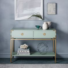 Malone Campaign Console -Oregano/Antique Brass from West Elm