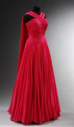 Vintage Prom Dresses, Chiffon Evening Dresses, Pleat Party