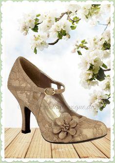 89af55234a85fb Ruby Shoo 40er Jahre Vintage Schuhe Blumen Pumps - Elsy - Gold