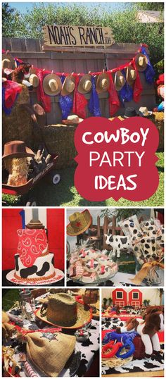 What fun cowboy party ideas. Rodeo Party, Cowboy Party, Rodeo Birthday Parties, Cowboy First Birthday, Farm Birthday, Birthday Bash, Birthday Ideas, Boys Birthday Party Themes, Cowboy Birthday Cakes