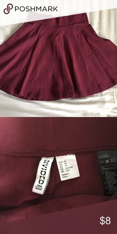 Maroon H&M Skater circle skirt Worn once. Perfect condition. Great with black top. Vans skate highs of black boots depending on occasion. H&M Skirts Circle & Skater