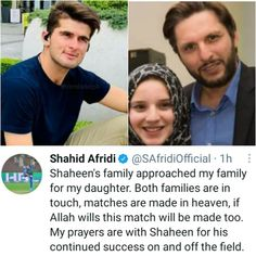 Shahid Afridi Confirms Daughter And Shaheen Afridi Engagement Rumours Shahid Afridi, Made In Heaven, My Prayer, My Family, To My Daughter, Prayers, Engagement, Prayer, Engagements