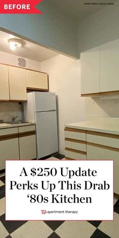 Before and After: A $250 update perks up this drab 1980s kitchen. #kitchenmakeover #kitchendecor #kitchenideas #80s #makeover #homeprojects #homeupgrades Melamine Cabinets, Base Cabinets, Rustic Kitchen, Kitchen Decor, Kitchen Ideas, Victorian Terrace Interior, Checkerboard Floor, Bachelorette Pad, New York City Apartment