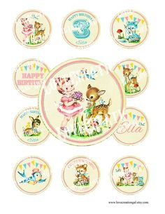 Digital PRINTABLE Vintage Woodland Animals Deer Fawn Teddy Bear Flower Birthday Tea Party Cupcake Ca Tea Party Birthday, Flower Birthday, Birthday Ideas, Bunny And Bear, Teddy Bear, Tea Party Cupcakes, How To Make Stickers, Label Image, Woodland Animals