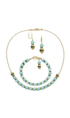 Jewelry Design - Single-Strand Necklace, Bracelet and Earring Set with Swarovski Crystal, Rhinestone and Gold-Finished Beads and Seed Beads - Fire Mountain Gems and Beads