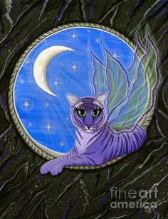 Items similar to Tiger Fairy Cat Painting Tiger Artwork Purple Tiger Pixie Moon Stars Gothic Big Eye Art Fantasy Cat Art Print Cat Lovers Art on Etsy