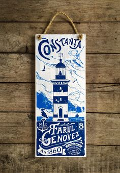Romania, Constanta, Lighthouse, Farul Genovez, Danube and Black Sea Railway co. Vintage Travel Posters, Vintage Ads, Old Maps, Black Sea, Wooden Signs, Romania, Home Deco, Lighthouse, Tourism